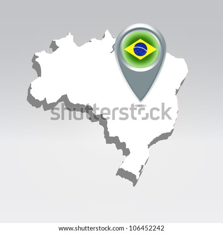 Pin with Brazil flag over brazilian silhouette map hanging in air
