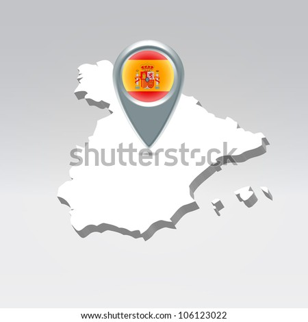 Pin with Spain flag over spanish silhouette map hanging in air