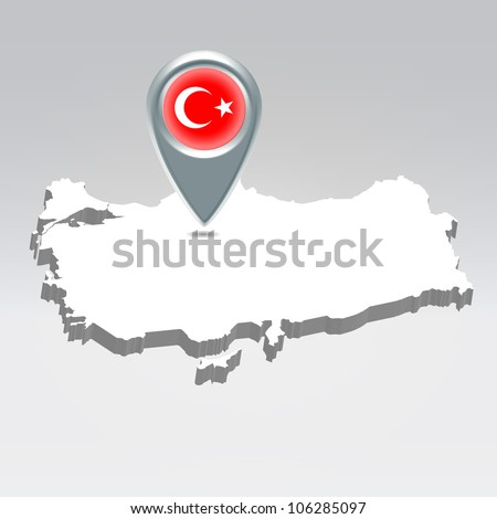 Pin with Turkey flag over turkish silhouette map hanging in air