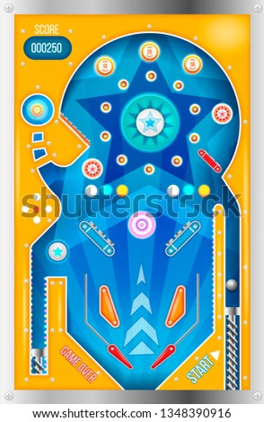 Pinball machine. Isolated cartoon pinball machine top view with in vintage style.
