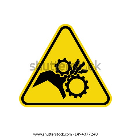 Pinch Point Entanglement Crush Gears Sign Isolated On White Background. ISO Triangle Warning Symbol Simple, Flat Vector, Icon You Can Use Your Website Design, Mobile App Or Industrial Design. Vector I