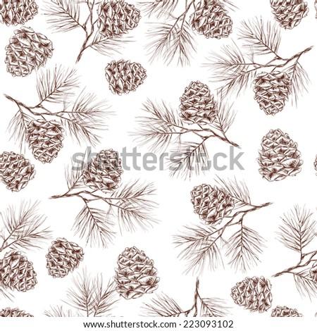 Pine fir christmas tree cedar spruce and cones seamless pattern vector illustration