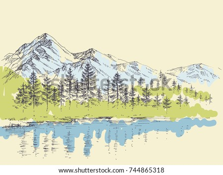 Pine forest in the mountains over a lake
