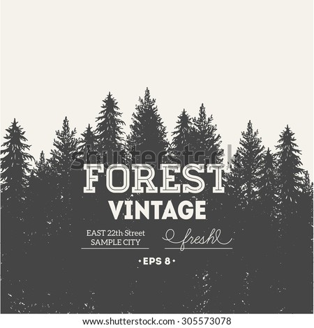 Pine forest. Journey design template. Vector illustration