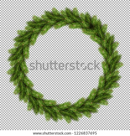 Pine tree fir spruce branch, evergreen pine tree twigs isolated on transparent background vector. Weath decoration of home, symbolic Christmas decor made in circle form, firtree needles branchlet