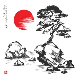 Pine tree on the rock. Picture in traditional japanese sumi-e style. Vector illustration. Hieroglyph
