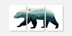 Pine trees forest panorama in bear silhouette wall art prints