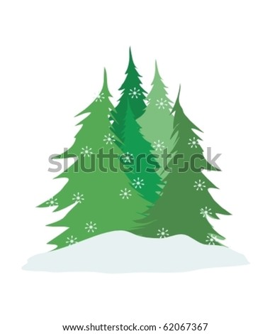 pine trees vector with falling snow isolated on white