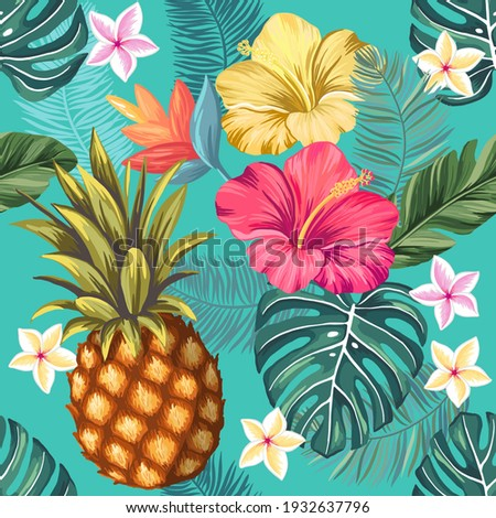 Pineapple and blooming hibiscus flowers. Vector seamless pattern with hand drawn illustrations with floral and tropical theme