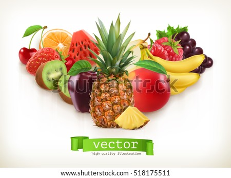 Pineapple and juicy fruits, vector illustration isolated on white #518175511