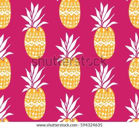 Pineapple background with hand drawn yellow fruits at pink background. Seamless vector pattern