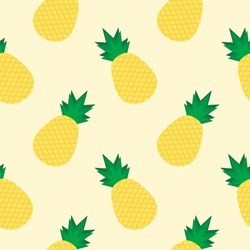 pineapple flat design seamless pattern. Vector illustration of art. Vintage background. Kitchen and restaurant design for fabrics, paper