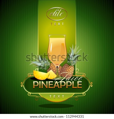 Pineapple.  Fresh juice. Vector