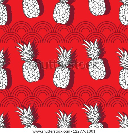 Pineapple Groove-Fruit Delight. Seamless Repeat Pattern illustration.Background in Red White and Grey.