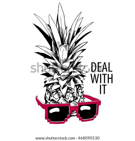 pineapple in a red glasses