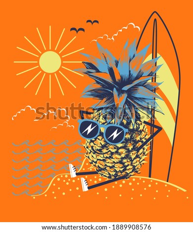 Pineapple in glasses pineapple tans on the beach after surfing. Print for kids t shirt. Vector illustration. Stock fotó ©