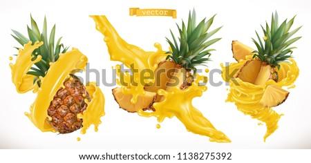 pineapple juice fresh fruit 3d