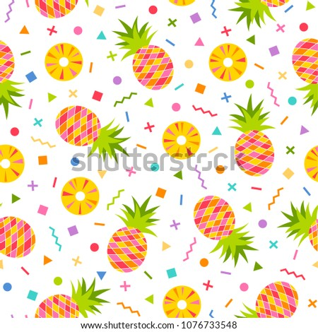 Pineapple seamless pattern with colorful geometric background