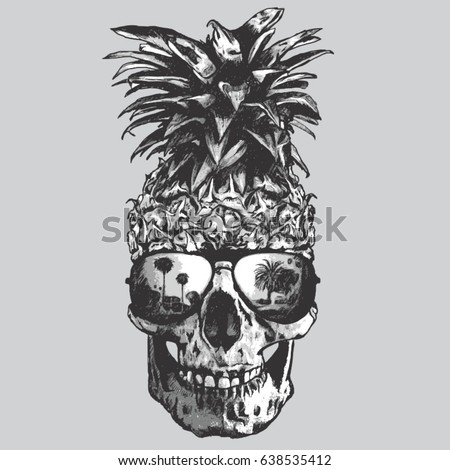 Pineapple  skull illustration, tee shirt graphics, vectors