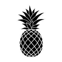 Pineapple Tropical Fruit. Vector Illustration. Lines and Lettering. Card, Banner