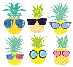 pineapple with glasses, vector, illustration