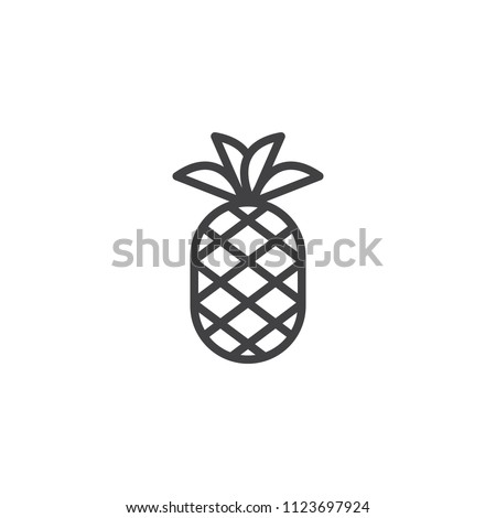 Pineapple with leaves outline icon. linear style sign for mobile concept and web design. Tropical exotic fruit simple line vector icon. Symbol, logo illustration. Pixel perfect vector graphics