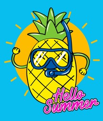 pineapple with snorkel hello summer