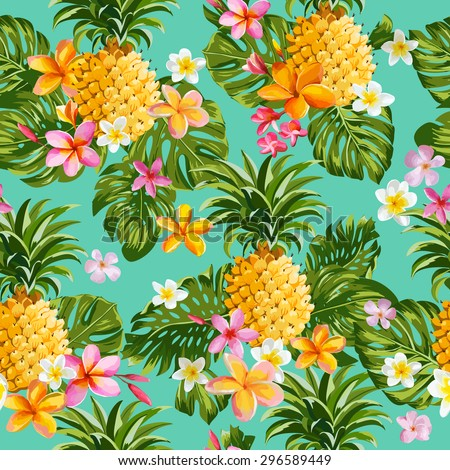 pineapples and tropical flowers