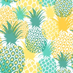 Pineapples seamless pattern. Tropical background. Vector illustration. All over print.