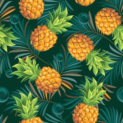 Pineapples with palm leaves on a tropical background. Seamless pattern. Graphic design with amazing palms and tropical fruits. Realistic palm leaves.