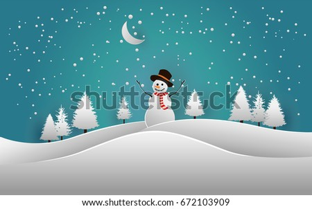 pines and snowman in snow forest. vector illustration snow. beauty sky