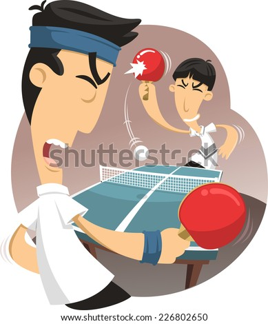 ping pong match vector cartoon
