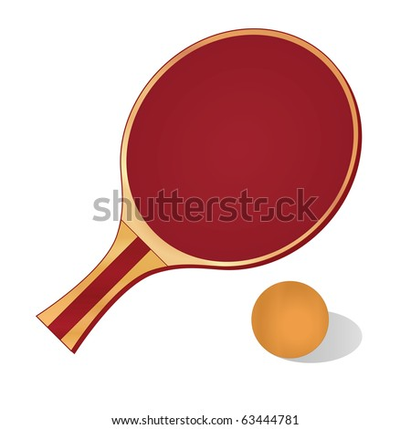 Ping-pong paddle with red cushion and orange ball.