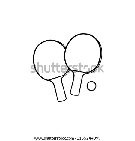 Ping-pong rackets and ball hand drawn outline doodle icon. Table tennis equipment, ping-pong game concept. Vector sketch illustration for print, web, mobile and infographics on white background.