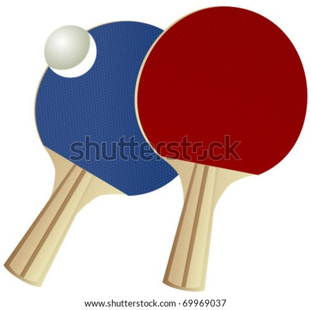 ping pong rackets and ball in vector