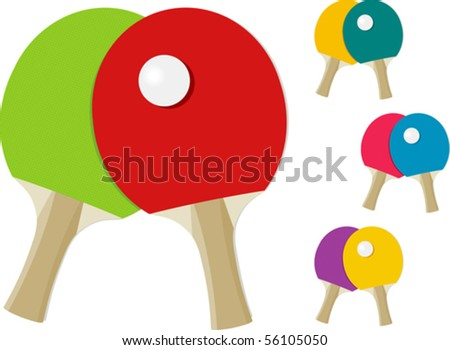 ping pong rackets table tennis paddles and ball isolated on white vector