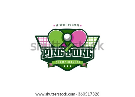Ping Pong Sport Badge Label Logo Design vector template. T-shirt Graphics Logo Sport Identity Logotype Illustration Label isolated on white Background.