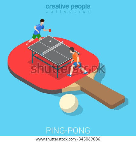 ping pong table tennis flat 3d