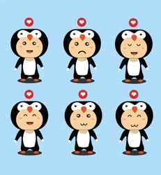 Pinguin Character in flat design