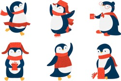 Pinguins in red scarfs and hats enjoying life vector illustration