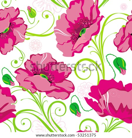 Pink Abstract Elegance seamless floral pattern. Beautiful flowers vector illustration texture with poppy.