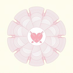 Pink abstract rosette. with heart with two arrows icon inside