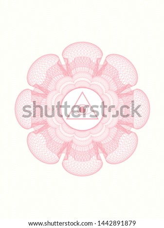 Pink abstract rosette with illuminati pyramid icon inside