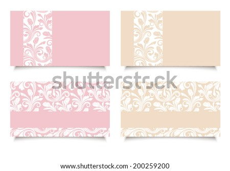 pink and beige business cards...