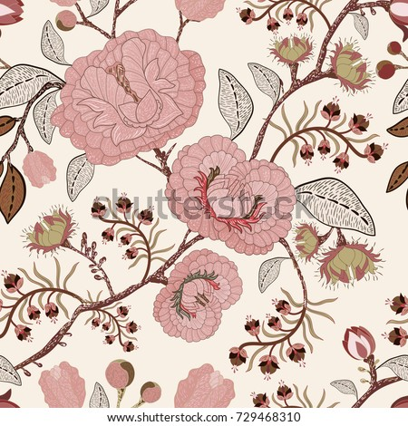Pink and beige vector seamless pattern with decorative flowers. Light floral pattern. Provence style background. Beautiful painted pattern with climbing plants. Stylized flowers, nature. Home decor