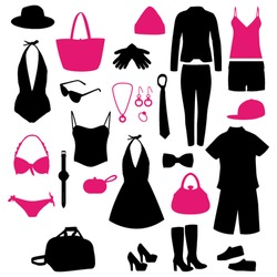 Pink and black fashion modern clothes silhouettes set. Vector collection.