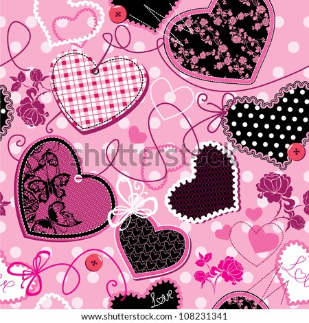 Pink and black Hearts on a pink background - seamless pattern - stock vector