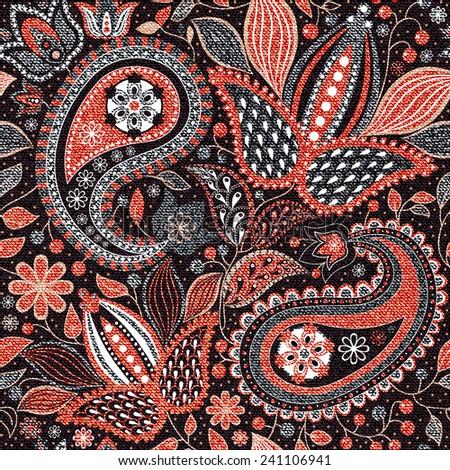 Pink and black paisley seamless pattern