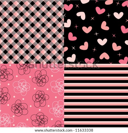 pink and black pattern combo (vector) - illustration - stock vector