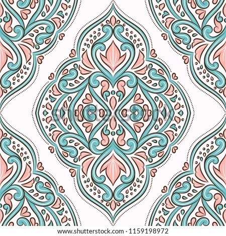Pink and blue floral seamless pattern. Folk ornament vector, vintage elements. Traditional, Turkish, Indian motifs. Great for fabric and textile, wallpaper, packaging or any desired idea.